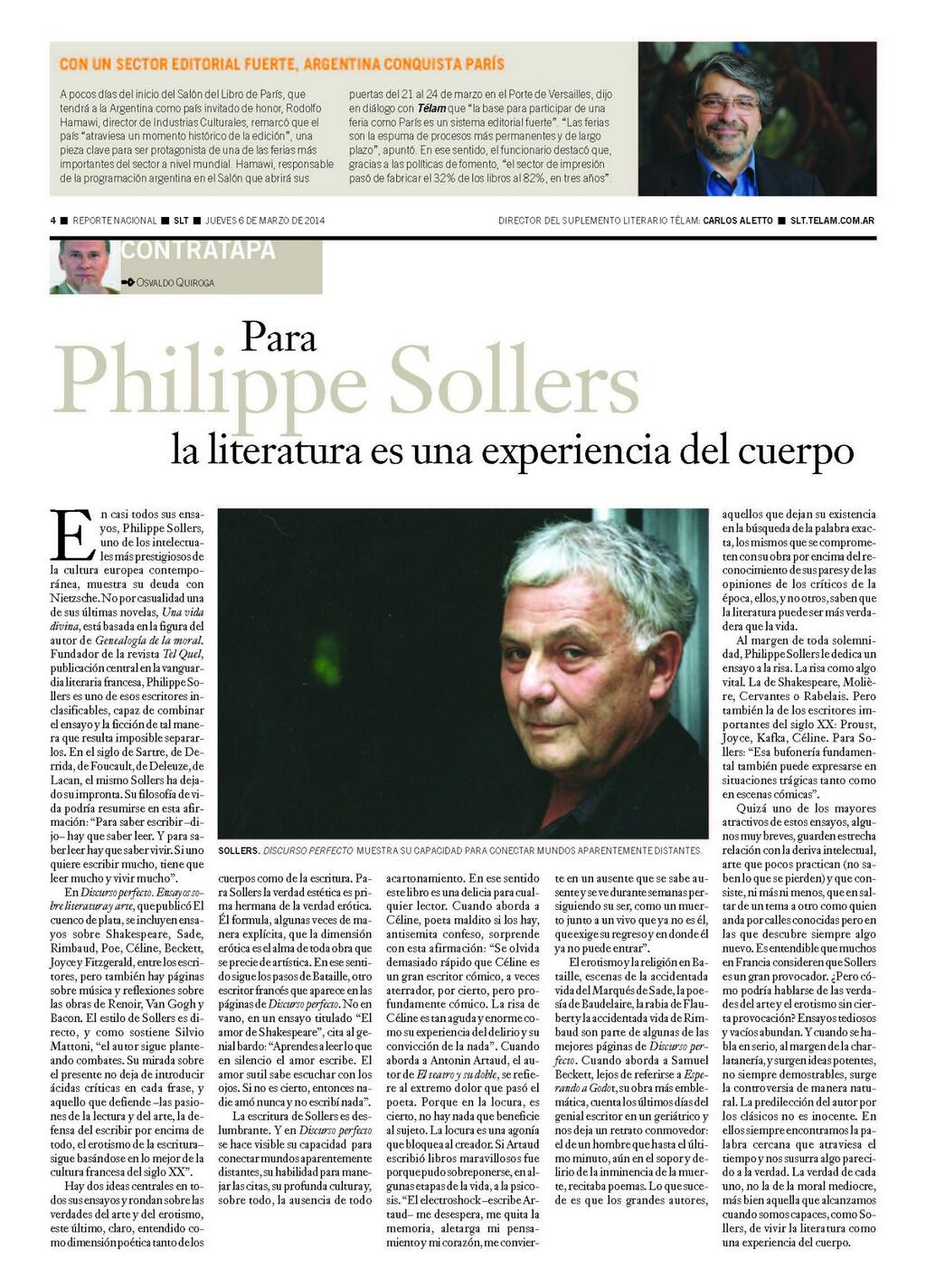 Philippe Sollers discurso perfecto